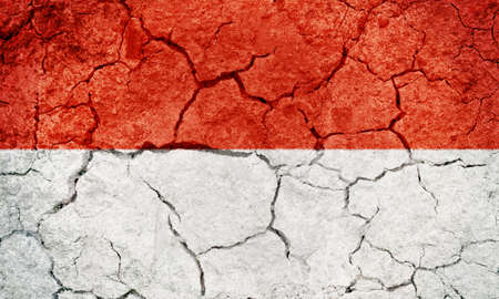 Salzburg, Austrian state flag on dry earth ground texture background