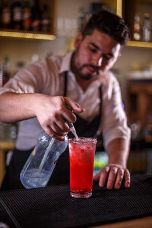 Bartender finishes preparing a pomegranate cocktail, adding soda water to the glass Foto de archivo