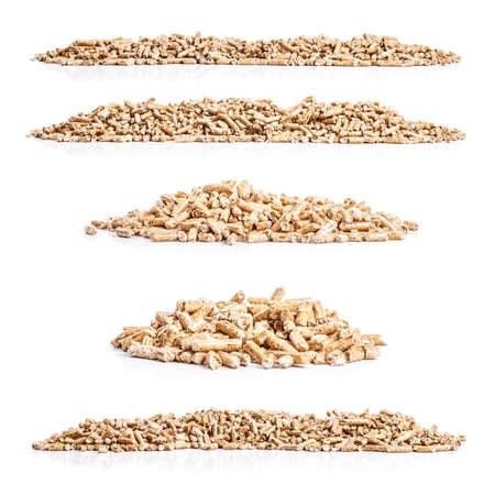 Set of wood pellets on white background