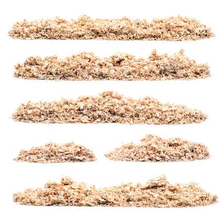 Set of pile of saw dust on white background Stockfoto