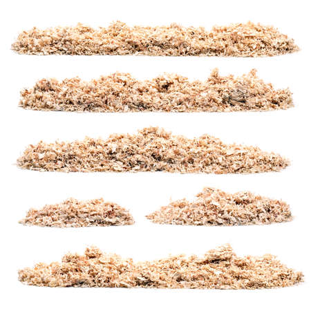 Set of pile of saw dust on white background Stock Photo
