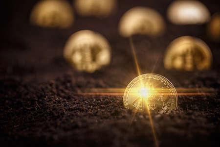 Golden Bitcoins. New virtual money in ground