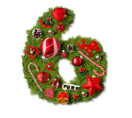Number 6. Christmas tree decoration on a white background