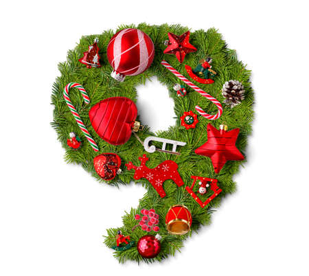 Number 9. Christmas tree decoration on a white background Reklamní fotografie