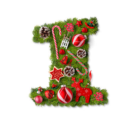 Number 1. Christmas tree decoration on a white background Imagens