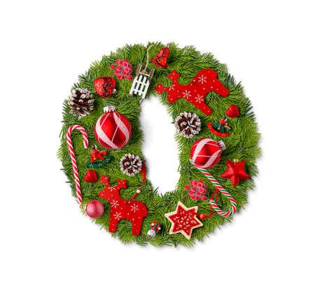 Number 0. Christmas tree decoration on a white background Reklamní fotografie