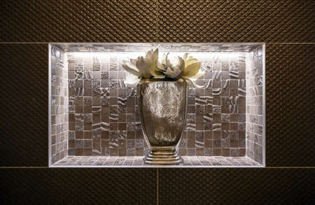 Decorative composition with backlight built-in wall 版權商用圖片 - 116180173