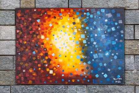 Abstract oil painting with brush strokes in cool colors, Intergalactic painted by Attila Hajnal, hanging on stone wall background