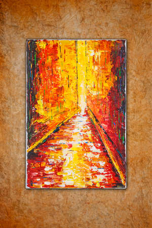 Way to brightness, contemporary art painting by Attila Hajnal, hanging on the wall