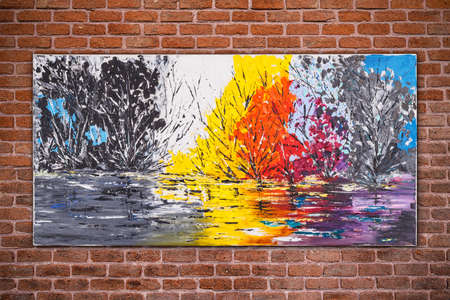 Surreal nature, colorful original oil painting by Attila Hajnal, hanging on brick wall background