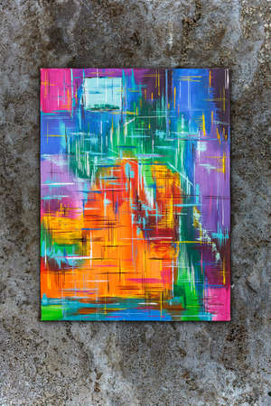 Colorful abstract art painting, hand-signed by artist Attila Hajnal, contemporary art