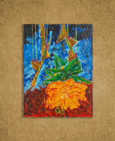 Broken rose, colorful original oil painting by Attila Hajnal, hanging on wall