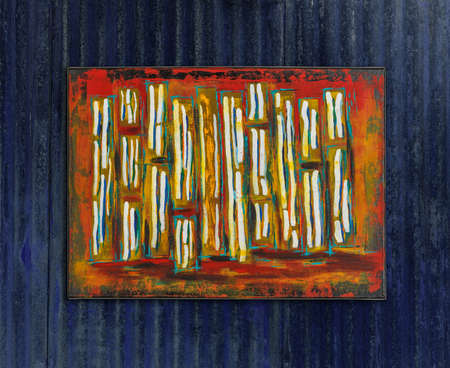 Abstract colorful oil painting, brush stripes, painted by Attila Hajnal, hanging on blue metal wall Stock fotó