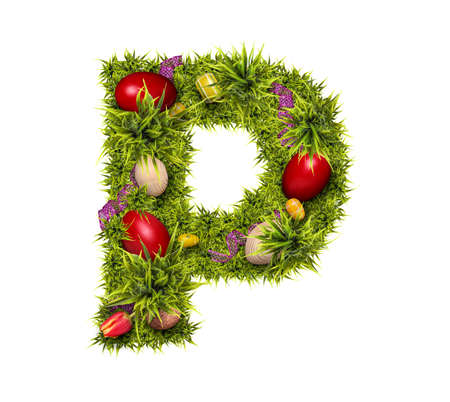 Easter holiday letter P made of fresh green grass and Easter eggs isolated on white background