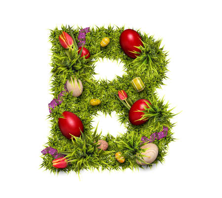 Easter holiday letter B made of fresh green grass and Easter eggs isolated on white background Reklamní fotografie