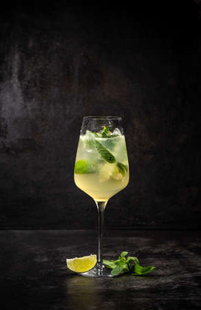 Hugo cocktail, Italian aperitif made with Prosecco wine, lime, mint and melissa syrup 写真素材
