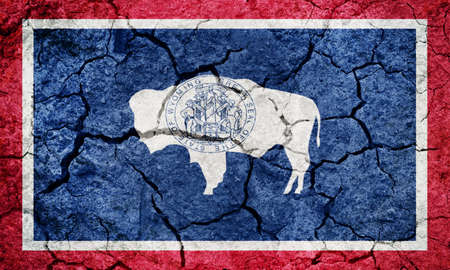 Flag of the state of Wyoming on dry earth ground texture background