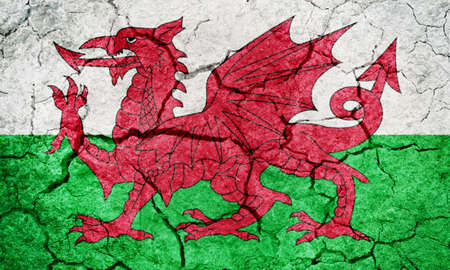 Wales flag on dry earth ground texture background
