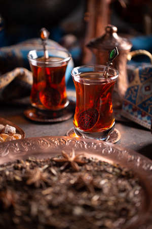 Turkish tea in traditional glasses and pot Stock fotó