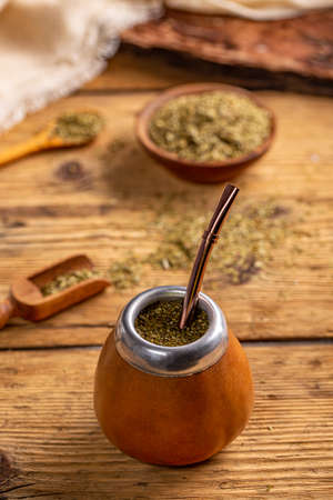 Mate in a traditional calabash gourd with bombilla Foto de archivo