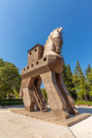Wooden Trojan Horse at Troy with blue sky