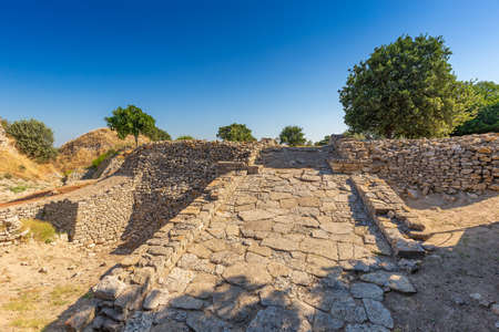Ruins of ancient legendary city of Troy in Canakkale, Turkey Stock Photo