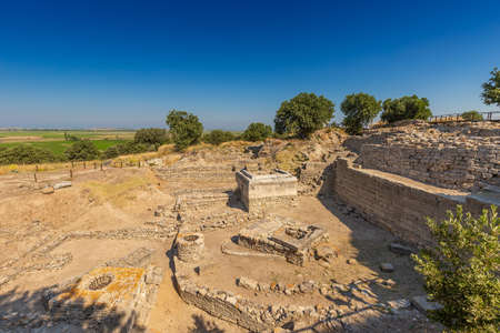 Ruins of ancient legendary city of Troy in Canakkale, Turkey