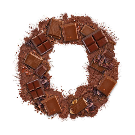 Letter O made of chocolate bar