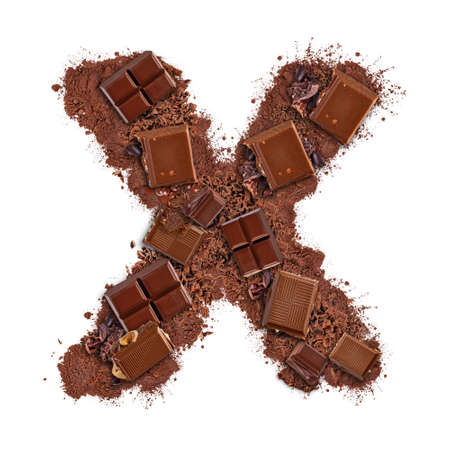 Letter X made of chocolate bar