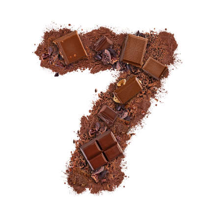Number 7 made of chocolate bar
