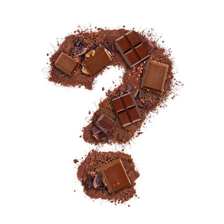 Question mark made of chocolate bar pieces isolated on white background