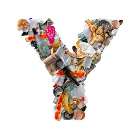 Letter Y made of trash