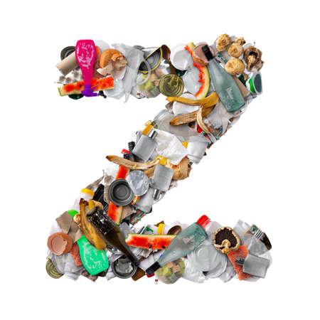 Letter Z made of trash