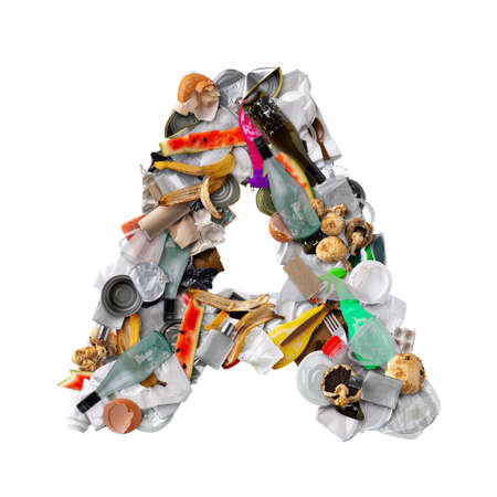 Letter A made of trash