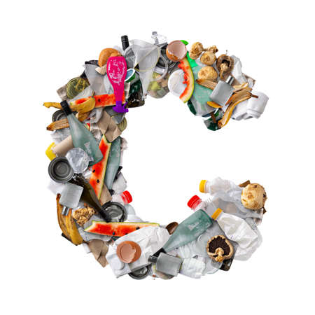 Letter C made of trash Stockfoto - 150239606