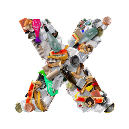 Letter X made of trash Stockfoto - 150239607