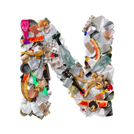 Letter N made of trash isolated on white background