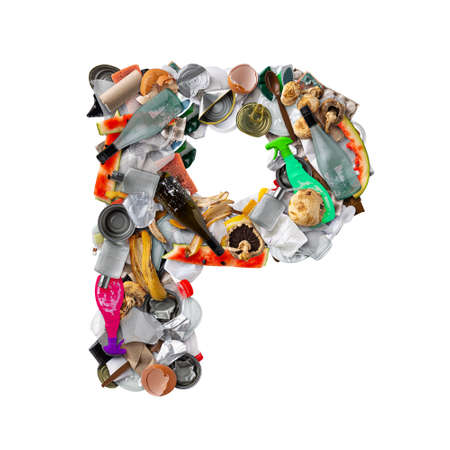 Letter P made of trash Stockfoto
