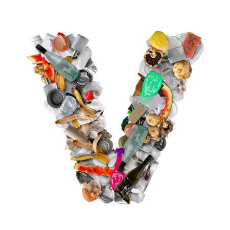 Letter V made of trash