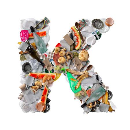 Letter K made of trash
