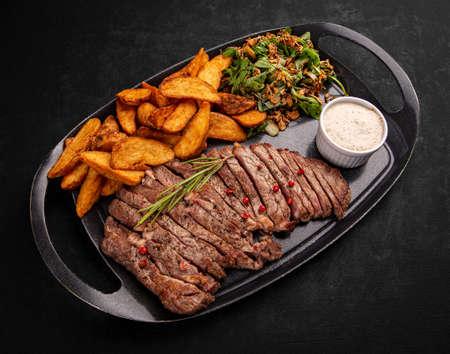 Sliced grilled beef steak Archivio Fotografico