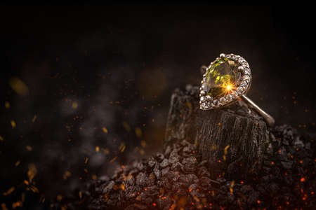 Silver jewelry with yellow stone Stock Photo
