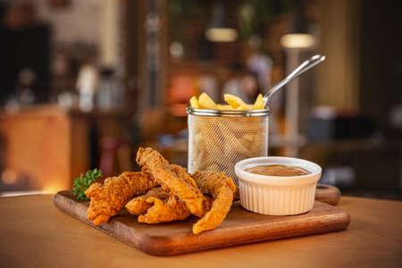 Fried crispy chicken nuggets