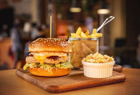 Chicken burger in brioche bun