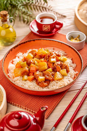 Chicken breast in sweet and sour sauce