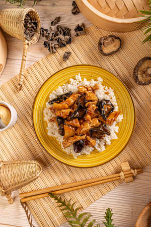 Rice with ear wood mushrooms Stockfoto