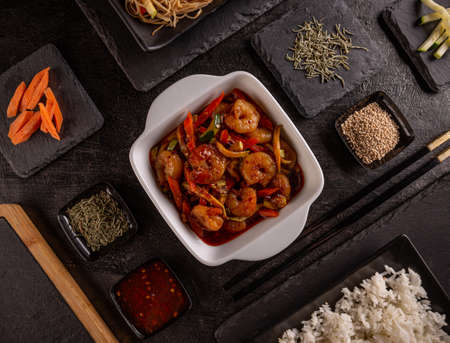 Vegetable stir-fry dishes with shrimp
