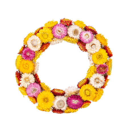 Colourful wreath of straw flower