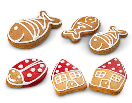 Set of Christmas gingerbread cookie Stockfoto