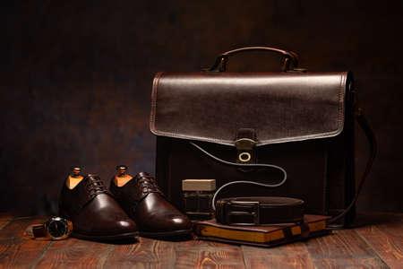 Still life shot of business mens briefcase